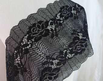 Stretch Lace In Black Hollow Out Flower Scallop Edge For Headbands,Lingerie,Yoga Waistbands STR