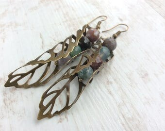 Bronze Leaf Earrings. Large Earrings. Big Earrings. Bead Earrings. Long Earrings. Nature Earrings. Long Boho Earrings. Leaf Jewellery