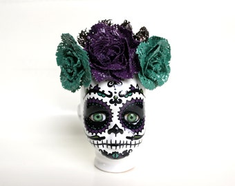 Small pot Mexican skull baby purple and green water