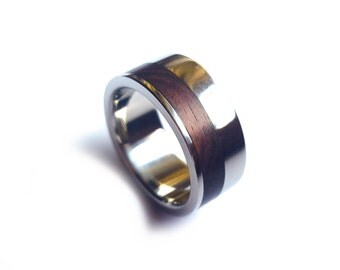 Titanium Ring with Off-center King wood inlay, Titanium Ring Inlaid with Wood, Wood Ring