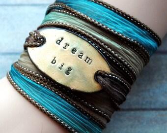 Silk wrap bracelet,  silk ribbon bracelet ,boho wrap,dream big ,Handdyed ,enameled copper,yoga,ruban de soie,Seidenband