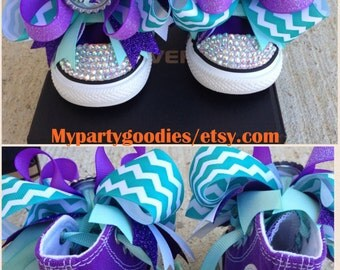 Under the sea shoes, little mermaid converse shoes,bling shoes, ariel shoes.