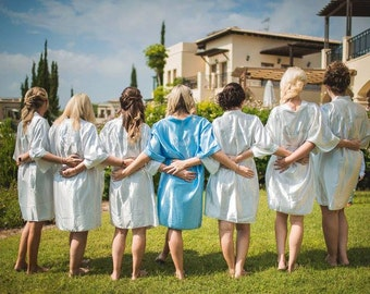 Bridal Party Dressing Gowns, Personalised Dressing Gown, Get Ready Gown, Bride's dressing gown, satin dressing gown, bridesmaid, bride
