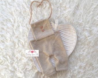 Ollie Romper, Oatmeal Dungarees, Newborn Neutral Romper, Beige Newborn Romper, Newborn Photo Prop, UK Seller