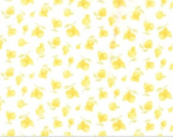 Moda Sweet Baby Flannel, 35283 22F Blossom, Abi Hall, Yellow Floral Flannel, Baby Quilt Fabric, Yellow & White Flannel, Cotton