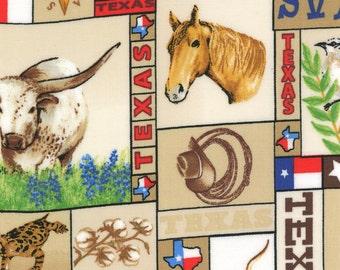 Texas Fabric, Moda Texas Trail 13111 11 Suede, Sara Khammash, Texas Collage Fabric, Texas Quilt Fabric, Cotton Yardage