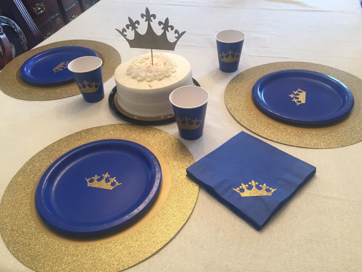 Royal prince blue and gold glitter crown party cups plates and for Blue and gold bathroom sets