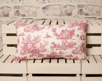 french toile de jouy cushion//toile de jouy pillow//red and white toile de jouy//red pillow//red cushion//red toile de jouy cushion pillow