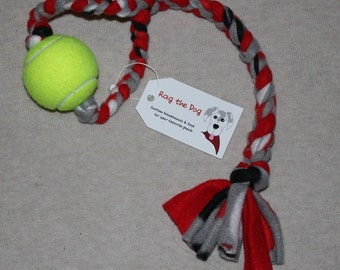 Red/Black/Gray Braided Fleece Rope Pull Toy with Tennis Ball for Dog