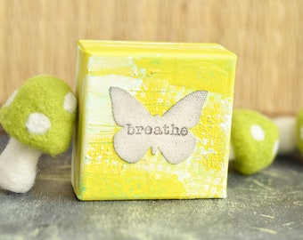 Mini Canvas Sign. Breathe. Yellow Canvas Butterfly Sign.