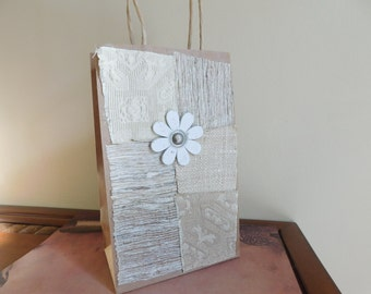Hippie Gift Bag - Boho Decorated Paper Bag - Multimedia - Upcycled Gift Bag