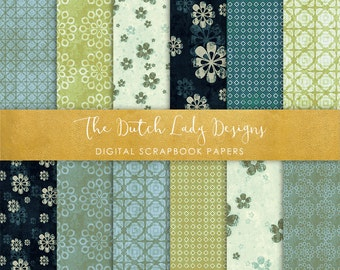 Digital Scrapbook Paper - Vintage Ornamentals in Teal and Green - 12 papers in .JPEG Files - INSTANT DOWNLOAD