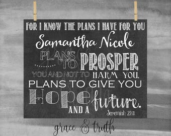 Personalized Jeremiah 29:11 Scripture || For I know the plans I have for you || Encouragement || Chalkboard || Home Decor