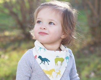 Gifts for Baby, Horse Bandana Bib, Organic Baby Teething Bib, Gender Neutral Bib, Gift for Horse Lover, Horse Baby Bib, Baby Shower Gifts