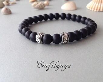 Men's Bracelet,Boho Bracelet,Gift For Birthday,Womens Bracelet,Beaded Bracelet,Black Beads Bracelet,Boho Jewelry,Yoga Bracelet,Mens Bracelet