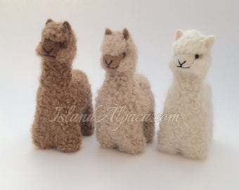 "100% Baby Alpaca, Hand-Felted 4.75"" Alpaca Toy Figure, Cute, Adorable, Wholesome! Handmade, Fair Trade. Christmas Gift, Stocking stuffer."