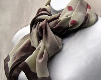 Large, heavy crepe de Chine scarf hand painted in khaki green and brick red on pale sage green.  Hand-painted large, sage green silk scarf.