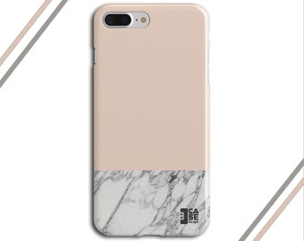 Pale Dogwood x Grey Marble Two Toned Phone Case, iPhone 7, iPhone 7 Plus, Tough iPhone Case, Galaxy s8, Samsung Galaxy Case, CASE ESCAPE