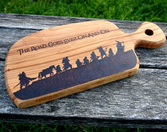 The Lord of the Rings inspired Fellowship solid elmwood chopping board woodburnt by hand