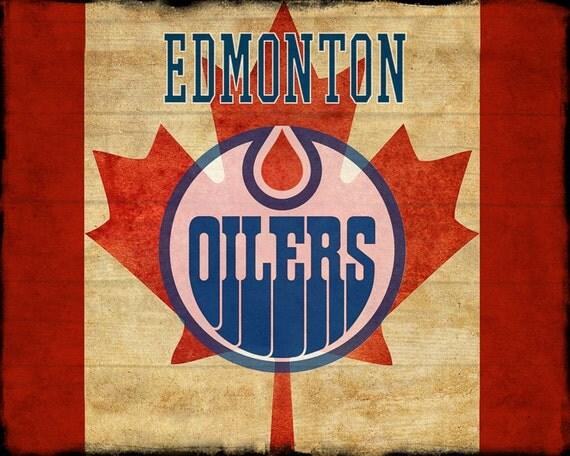 Man Cave Accessories Edmonton : Edmonton oilers poster hockey decor canada flag man cave