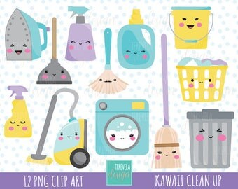 80% SALE CLEANING clipart, commercial use, kawaii cleaning clipart, Laundry clipart, clean up graphics, cute, kawaii clipart