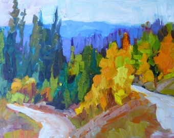 Original Landscape Oil Painting impressionism fall aspen trees mountains Granby Colorado art signed