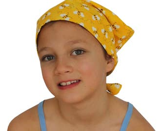 Mia Children's Head Cover, Girl's Cancer Headwear, Chemo Scarf, Alopecia Hat, Head Wrap, Cancer Gift for Hair Loss - Yellow Bees