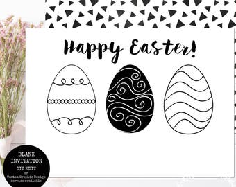 Printable Easter Invitation / You Edit Using Photo Software or Handwrite / Happy Easter Black and White Simple Template INSTANT DOWNLOAD