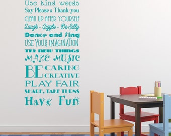 Playroom rules wall art sticker decal,children's room, toy room, play room