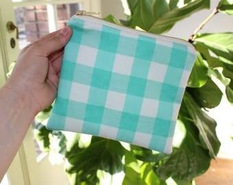 Aqua Gingham Medium Zipper Bag