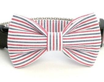 Americana Seersucker Dog Collar Bow Tie set, ole miss, pet bow tie, collar bow tie, wedding bow tie
