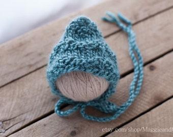 Subtle Chevron Stripe Newborn Bonnet, Pixie Newborn Bonnet, Knit Baby Hat, Newborn Hat, Alpaca Bonnet, Baby Bonnet, Chevron Bonnet, Chevron