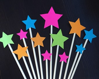 Neon Stars Cake toppers