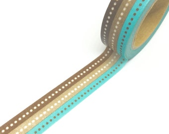 Brown and Teal Stripes with Dots Washi Tape 15mm x 10m