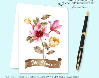 Free Ship!  Set of 12 Personalized / Custom Notecards, Boxed, Blank Inside, Floral, Banner, Flowers, Yellow, Green, Pink, Monogram, Name