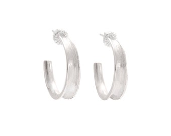 Sterling Silver Medium Fluted Hoop Earring