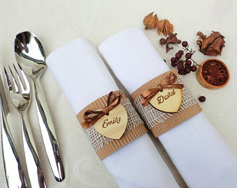 Set of 12 pcs. Custom place setting, wooden heart tags, rustic place card, escort card, rustic napking rings, wedding place card,