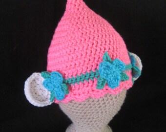 Crochet PATTERN for Pink Poppy Flower Troll Hat; Crochet Troll Hat; Pink Troll Hat Pattern; 4 sizes - Baby to Adult; PDF download file