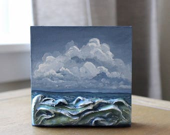 Ocean Painting, Miniature Facade, Clay Sculpture, Dimensional Art, Miniature Painting, Seascape, Ocean Waves Painting, Beach House Decor