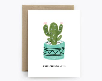 Sympathy, Just Because, Get Well Card - Cactus Thinking of You