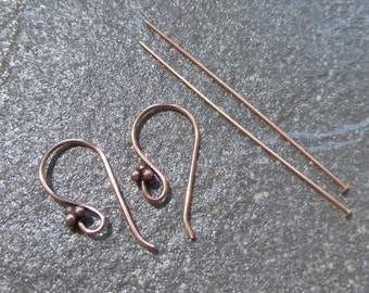 100% Solid Copper Antiqued Ear Wires & Headpins Set For Earrings - 1 Pair of Bali Style Shepherds Hook Ear Wires - 2 Flat End Headpins