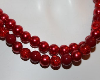 Jewelry Red, Necklace Red, Red Pearl Jewelry, Red Pearl Necklace, Necklace Beaded Red, Jewelry Beaded Red, Necklace Red Pearls, Red Pearls