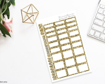 Gold Glitter | Half boxes & Labels | Printable Planner Stickers | Happy Planner