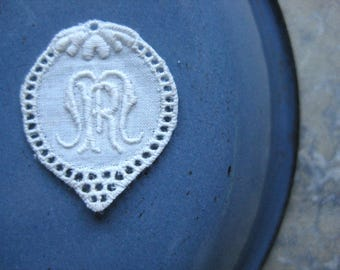 a vintage french monogram, MR, monogrammed roundel, ready to sew, cotton