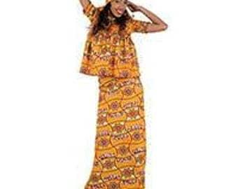 African Print Top ans wrap Skirt