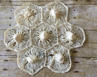 VINTAGE Handmade 70's Doily - Lace - Wall and Table Decor - Bohemian