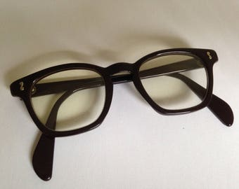ON SALE***1950's OPSM safety spectacles in brown. Mad Men/secretary/Buddy Holly style.