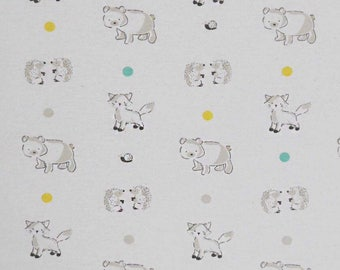 Woodland creatures flannel fabric