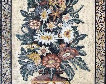 Roman Mosaic Flower Art Scene