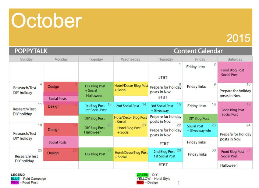facebook posting schedule template - how to create an editorial calendar for your blog and